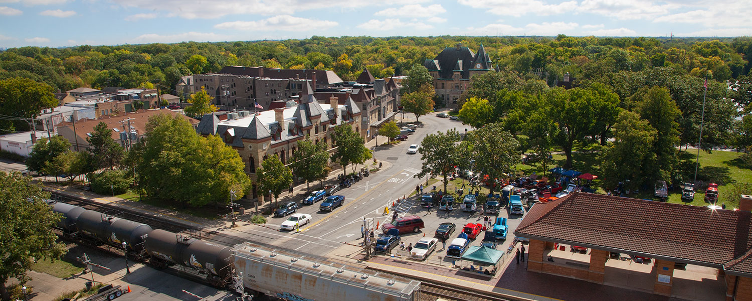 Downtown Riverside, Illinois from Water Tower